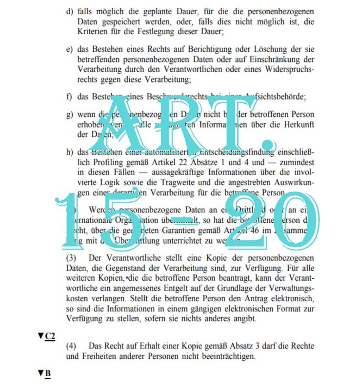 Art. 15 - 20 DSGVO